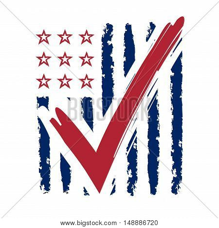 Presidential election USA sign. Blue and red design on white background for voting campaign. Vote patriotic mark for poster icon sign. Symbol of political patriotism. Vector illustration