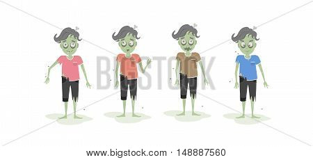 Isolated scary zombie set. Green zombie with bone. Scary reanimated monster for halloween decoration. Different t shirts.