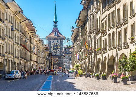 BERN,SWITZERLAND - AUGUST 26,2016 - Kramgasse street with Zytglogge - Tower clock in Bern. Bern is capital of Switzerland.