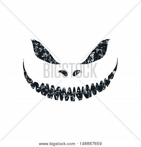 Grunge scary face isolated on white background. Template for Halloween greeting card poster, brochure or flyer. Vector illustration.