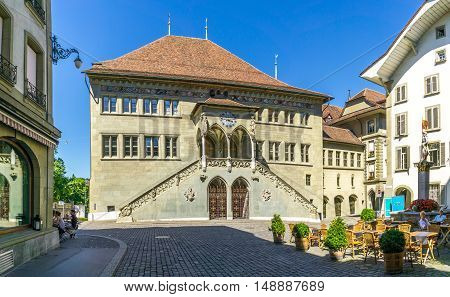BERN,SWITZERLAND - AUGUST 26,2016 - City hall - Rathaus of Bern. Bern is capital of Switzerland.