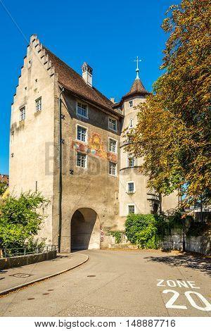 BADEN,SWITZERLAND - AUGUST 26,2016 - Landvogteischloss of Baden. Baden is located on the left bank of the river Limmat.