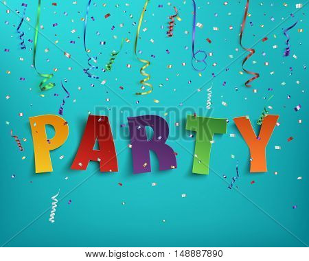 Colorful handmade typeface party with confetti and colorful ribbons on blue background. Vector illustration.