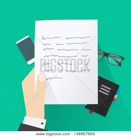 Hand holding paper sheet with abstract text under work desk vector illustration, concept of writing letter, writer desk, workspace, paper work, flat cartoon design on green background top view