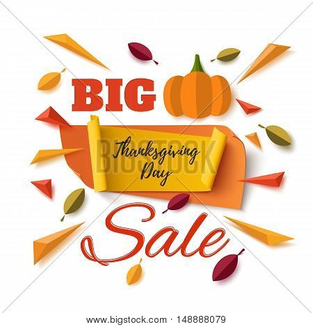 Big Thanksgiving Day sale banner with abstract pumpkin, leafs and colorful particles isolated on white background. Vector illustration.