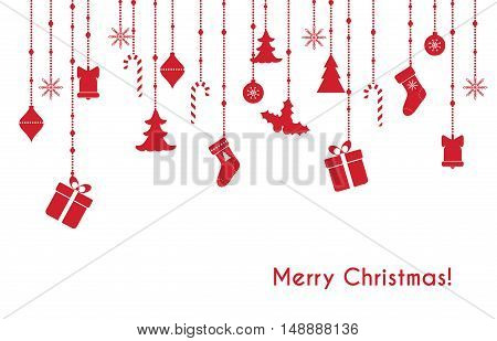 Christmas vector red greeting card with hanging christmas toys, gift boxes