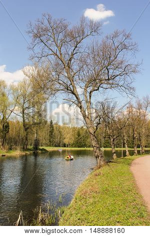 St. Petersburg, Russia - 3 May, Boat on the river,3 May, 2016. People and spring landscape in Pavlovsk park.