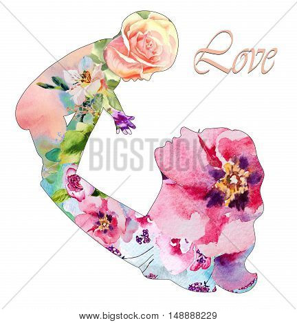 Beautiful mother silhouette with her baby with floral background. Card of Happy Mothers Day