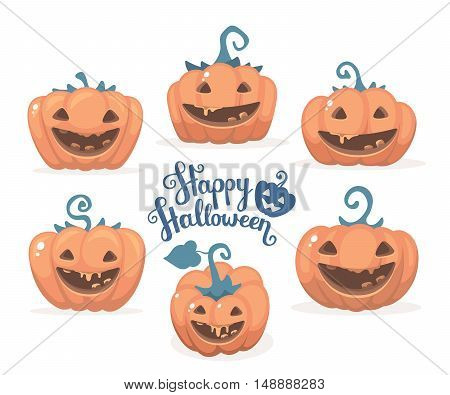 Vector Halloween Illustration Of Collection Decorative Orange Pumpkins With Eyes, Smiles And Text Ha