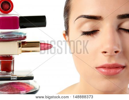 Beautiful woman face with professional makeup details.