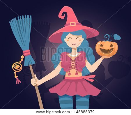 Vector Colorful Halloween Illustration Of Witch Character With Broom, Hat, Orange Pumpkin On Dark Ba