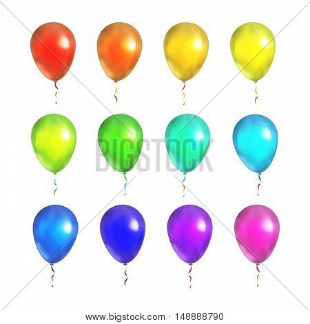 Large set of bright colorful balloons isolated on white