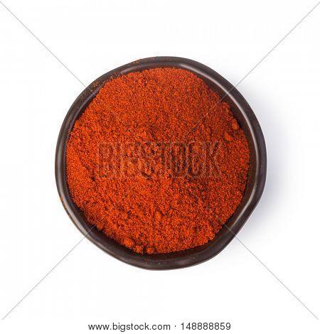 chili powder spices on white background