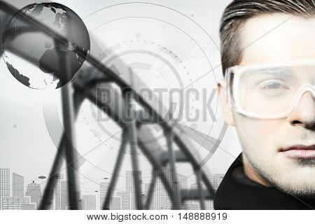 Technologies of the future concept. Young man with futuristic glasses