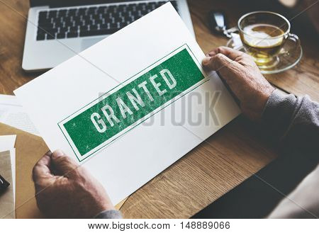 Granted Certified Mark Result Selection Status Concept