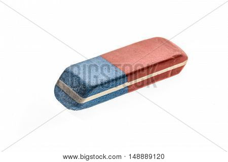 Used Blue and Red Rubber Pen Eraser isolated on white background