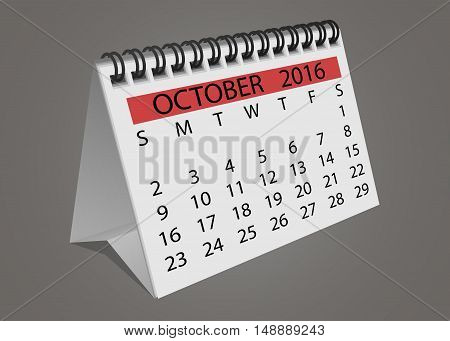 Isolated October 2016 desktop calendar with turning pages vector illustration