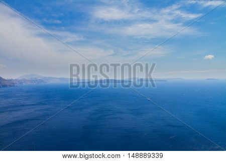 volcano caldera and Aegan sea, beautiful details of Santorini island, Greece