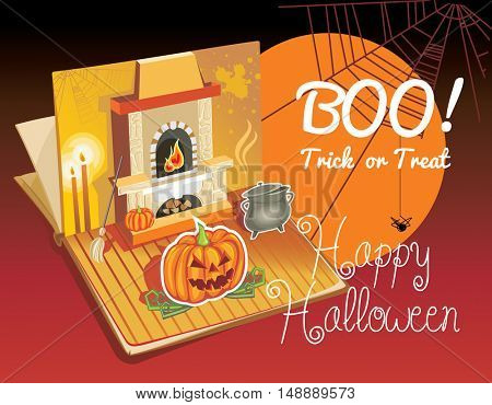 Halloween pop-up book. Vector Illustration of a Halloween Background