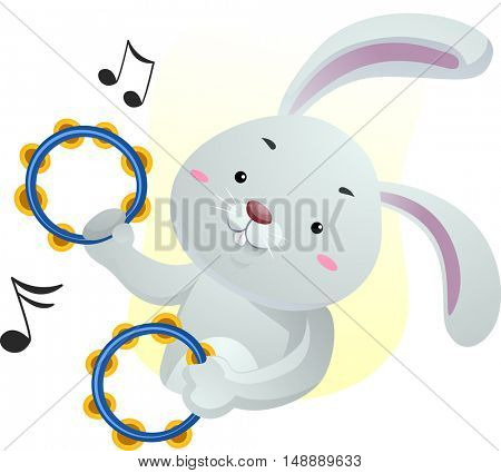 Animal Mascot Illustration Featuring a Cute Rabbit Playing with Tambourines