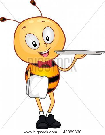 Animal Mascot Illustration Featuring a Honeybee Dressed as a Waiter Carrying a Round Serving Tray