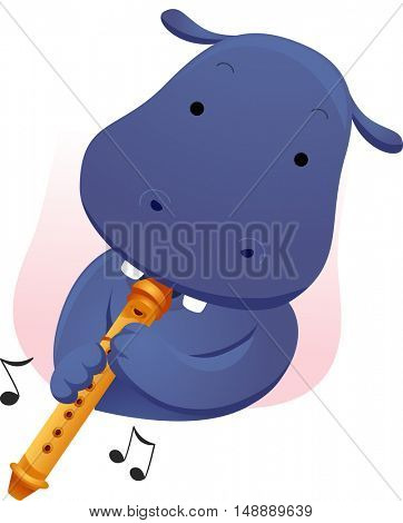 Animal Mascot Illustration Featuring a Cute Hippopotamus Playing the Flute