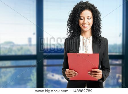 Woman reading a business document