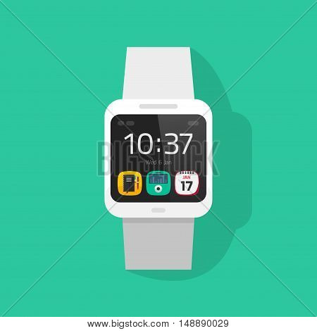 White smart watch vector illustration isolated on colorful background, digital hand clock with touchscreen display and white bracelet, smartwatch flat cartoon style
