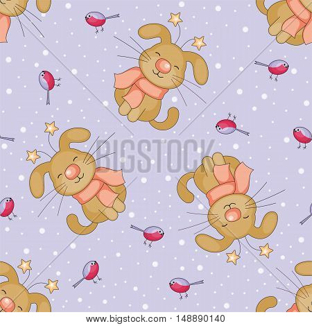 Christmas seamless pattern with the image of funny dogs and snowflakes in cartoon style