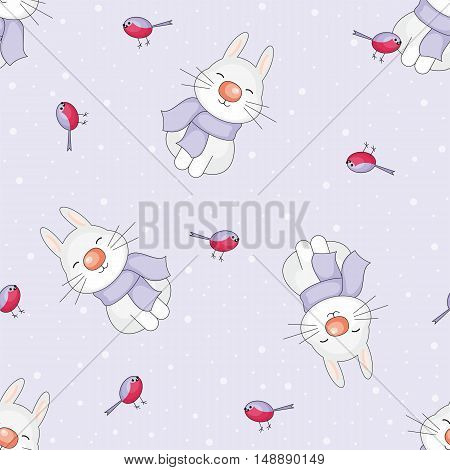 Christmas seamless pattern with the image of funny rabbits and snowflakes in cartoon style