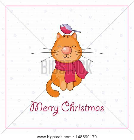 Merry Christmas greeting card with the image of funny cat and snowflakes in cartoon style