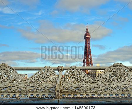 Blackpool tower in UK, viewed from Central pier