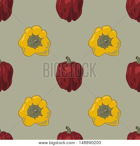 Seamless pattern white colored bell peppers vector illustration