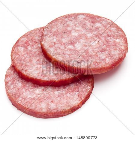 Salami smoked sausage three slices isolated on white background cutout