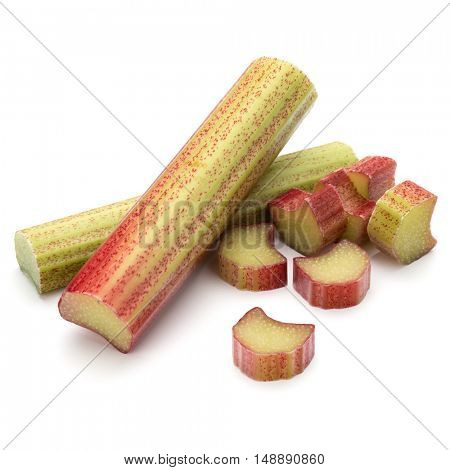 rhubarb stem isolated on white background cutout
