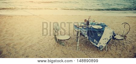 Table Chairs Meal Sea Shore Holiday Concept