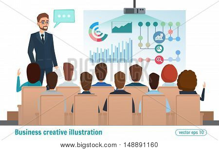 Business Professional Work Team Meeting. Man Speaks, Presentation Project. People At The Conference