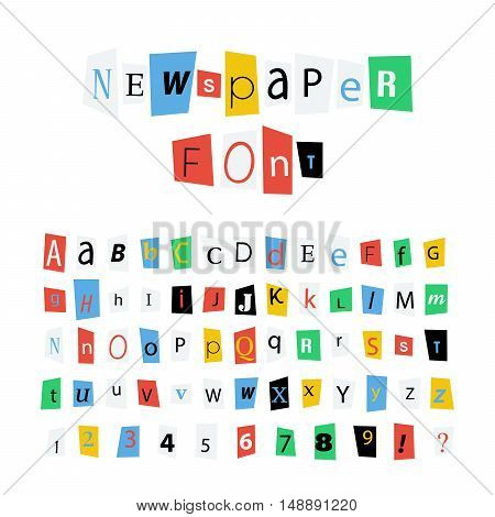 Colorful newspaper letters font latin alphabet signs and numbers isolated on white