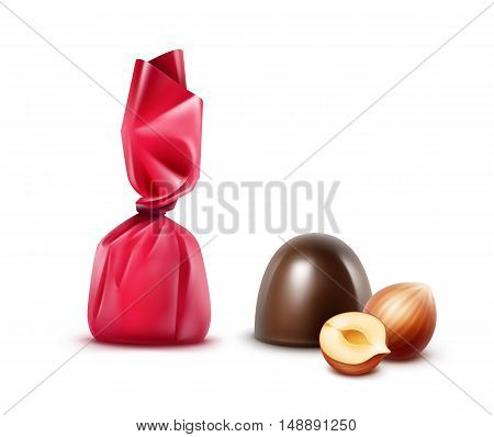 Vector Set of Realistic Dark Black Bitter Chocolate Candies with Hazelnuts in  Dark Pink Glossy Foil Wrapper Close up Isolated on White Background