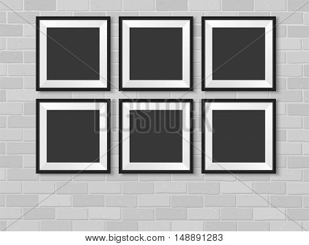 Picture frames on brick wall. Realistic wall photo gallery vector illustration. Set of empty vector frames mockup for your illustrations drawings posters or photos.