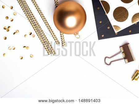 Golden Items On White Background