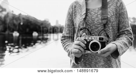 Girl Adventure Trip Traveling Holiday Photography Concept