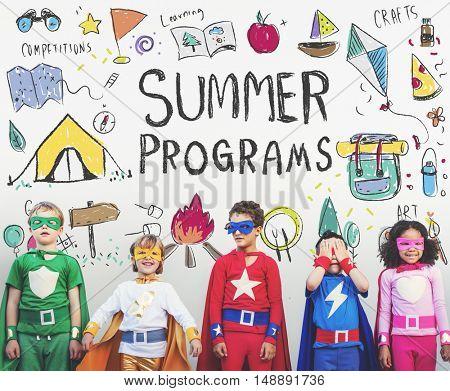 Summer Kids Camp Adventure Explore Concept