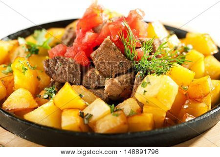 Pan Fried Potatoes with Meat