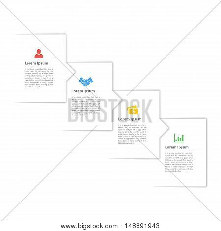 four steps sequence infographic layout concept vector illustration