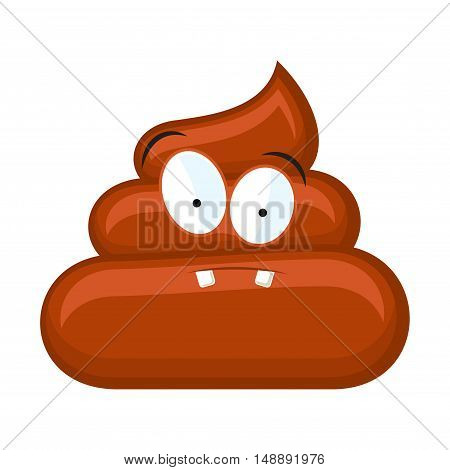 Confused poo with eyes isolated on white background. Vector illustration