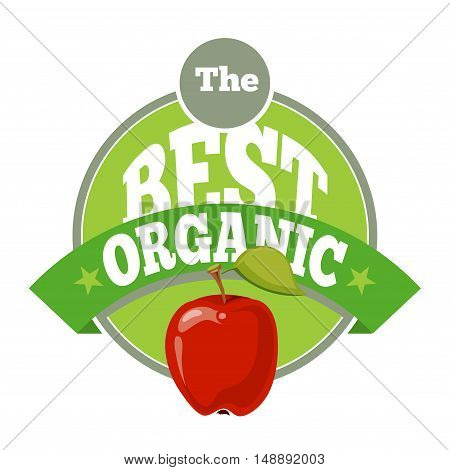 The best organic fruit logo template. Red apple with ribbon. Vector illustration