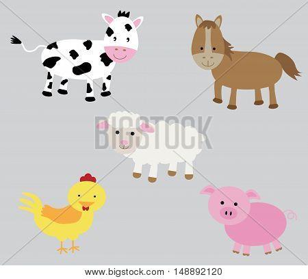 Barnyard Sheep Horse Chicken Pig Cow Animals