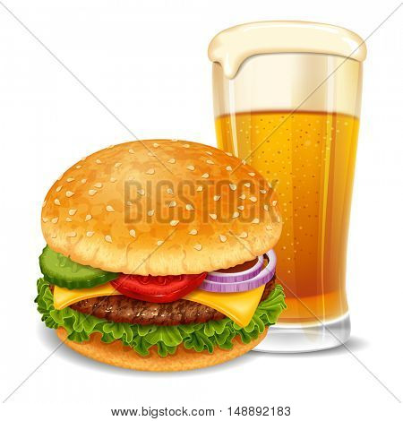 Big tasty hamburger with beer glass. Lovely snack. Realistic vector illustration. Isolated on white background.