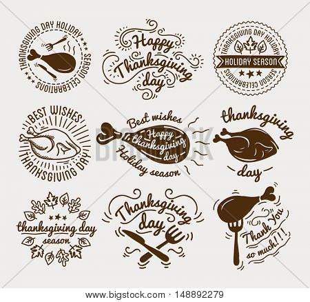 Set of labels design template to Thanksgiving Day. Black icons with turkey for banner and invitation. Vector tags, stickers and badges with symbols for fall holiday. Flat design. Illustration isolated